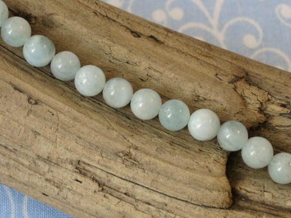 Aquamarin Perlen rund
